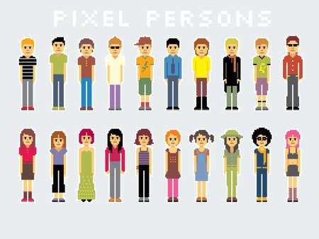 multitud gente: Pack de muchos p�xeles. M�s ilustraciones en mi cartera.