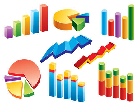Collection of graphs and charts. More illustrations in my portfolio. Vector