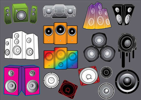 concert audio speaker: Music Set #1: Loudspeakers. Vector illustration collection with music design elements.