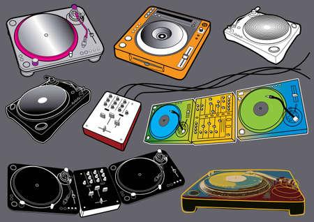 Music Set #2: Turntables. Vector illustration set with music design elements. Illustration