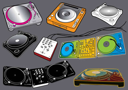 Music Set #2: Turntables. Vector illustration set with music design elements. Stock Vector - 5834389