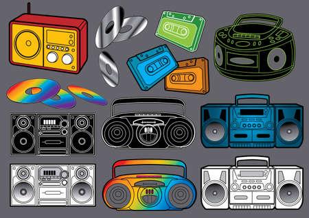 equipo de sonido: Conjunto de música # 3: radio. Ilustración de vector de la radio muchas diferentes. Vectores