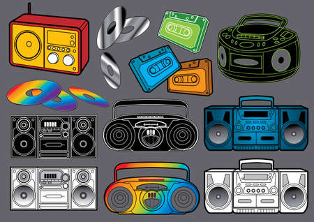 Music Set #3: Radio. Vector illustration of many different radios. Vector