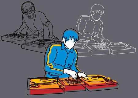 Muziek Set # 4: DJ Vector Illustratie