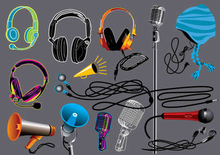 Music Set #5: Headphones and Microphones. Vector illustration set with different music design elements. Vector