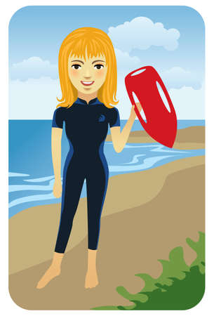 Vector illustration of a young blond female lifeguard holding a life buoy. Stock Vector - 5862484