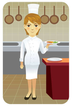Vector illustration of young female cook holding a plate of food in the kitchen.