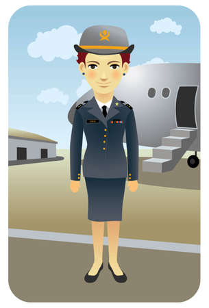 Flight Attendant at the Airport. Visit my portfolio fo much more active people. Stock Vector - 5862487