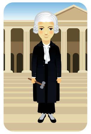 juror: Vector illustration of a female judge with gown and gavel, in front of the courthouse. More active people in my portfolio.