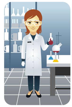 cientificos: Ilustraci�n vectorial de un investigador mujer trabajando en el laboratorio, sosteniendo un vaso de precipitados. Personas m�s activas en mi cartera.  Vectores