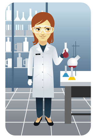 Vector illustration of a female researcher working in the laboratory, holding a beaker. More active people in my portfolio. Vector