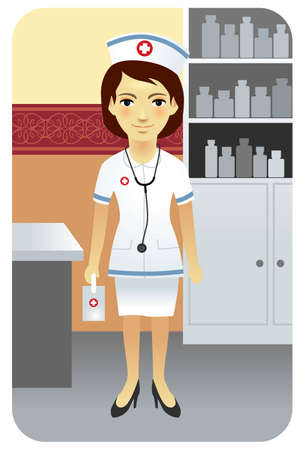 Vector illustration of a young nurse in clinic. More active people in my portfolio. Vector