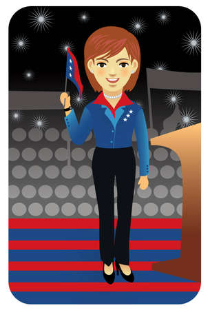 senate race: Vector illustration of female politician waving the American flag. More active people in my portfolio.