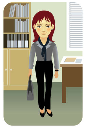 Business woman in an office environment. More active people in my portfolio. Vector