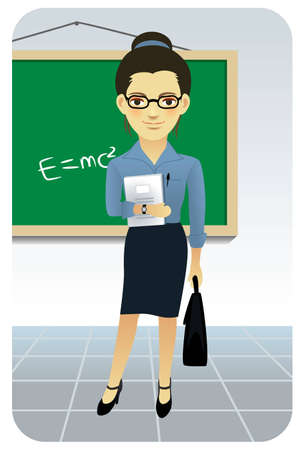 Teacher in classroom. More active people in my portfolio. Vector