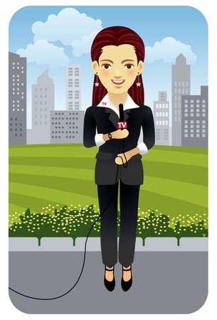 Vector afbeelding van een vrouwelijke televisie verslaggever. Meer actieve bevolking in mijn portefeuille.