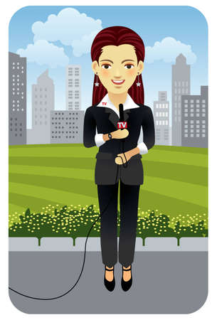 Vector illustration of a female television reporter. More active people in my portfolio. Vector