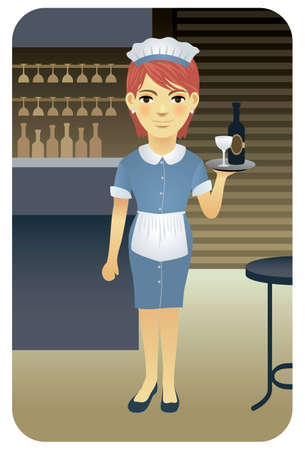 Vector illustration of a young waitress serving drinks in a bar. More active people in my portfolio.  Vector