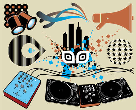 Music Elements. Vector set with various music objects, all fully scalable and editable. Vector