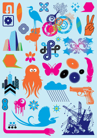 Cartoon Collection: pack with various cartoon design elements. Vector