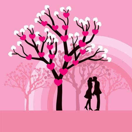 enamorados caricatura: Ilustración vectorial encantadora de amantes besándose bajo un árbol de amor.
