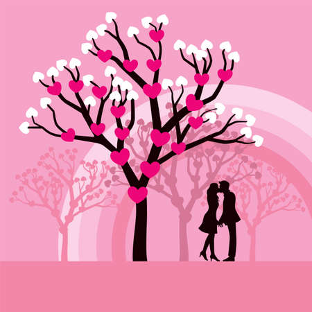 Lovely vector illustration of lovers kissing under a love tree.