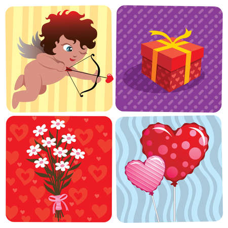 Vector illustration of various Valentines Day elements. Vector