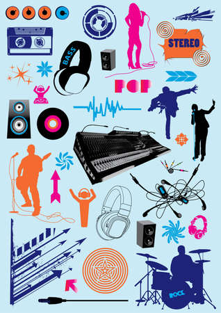 Vector pack with music design elements.