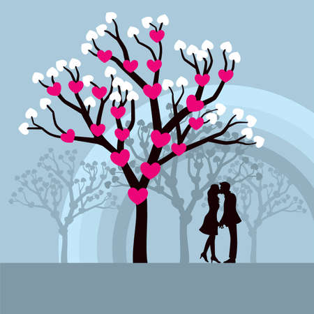 innamorati che si baciano: Inverno Love Tree - illustrazione vettoriale Lovely degli amanti baciare sotto un albero di amore.  Vettoriali