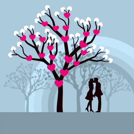 enamorados caricatura: Árbol del amor de invierno - ilustración vectorial Lovely de amantes besándose bajo un árbol de amor.  Vectores