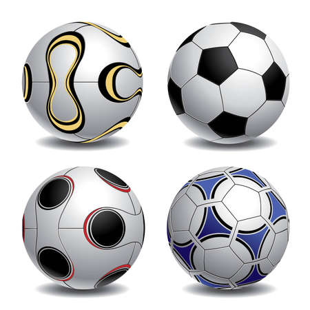 Realistic illustration of 4 soccerfootball balls. More soccer illustrations in my portfolio.