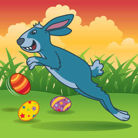 Funny cartoon illustration of an Easter bunny chasing Easter eggs - More Easter illustrations in my portfolio. Vector