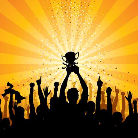 trofeo: Ilustraci�n de una muchedumbre celebrando una victoria - ilustraciones de f�tbol m�s en mi cartera.