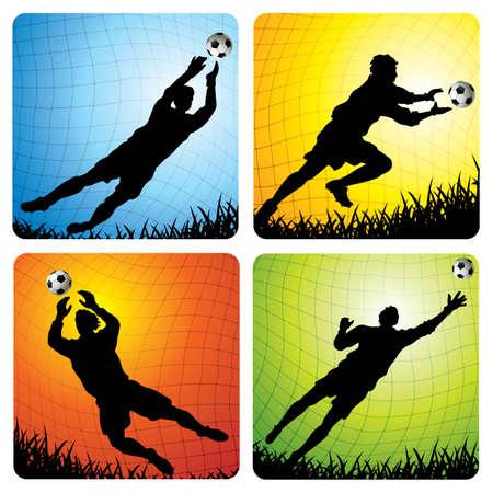 illustraties van 4 goalkeepers in de doel - meer voet bal illustraties in mijn portefeuille. Vector Illustratie