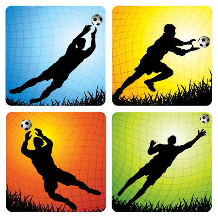 illustrations of 4 goalkeepers in the goal - More soccer illustrations in my portfolio. Vector