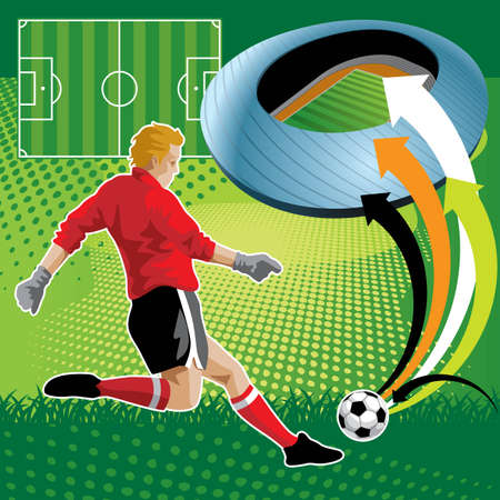 Creative illustration of a soccer player on the field - More soccer illustrations in my portfolio. Vector
