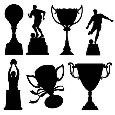 Collection of silhouette trophies - More sport illustrations in my portfolio.