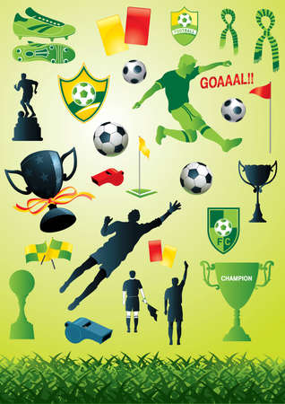 collection of many soccer and football designs - More sport illustrations in my portfolio. Vector
