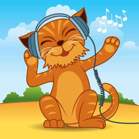 gato caricatura: Ilustración de un gato de pelaje naranja vistiendo auriculares y disfrutando de la música - más animales en mi cartera.  Vectores