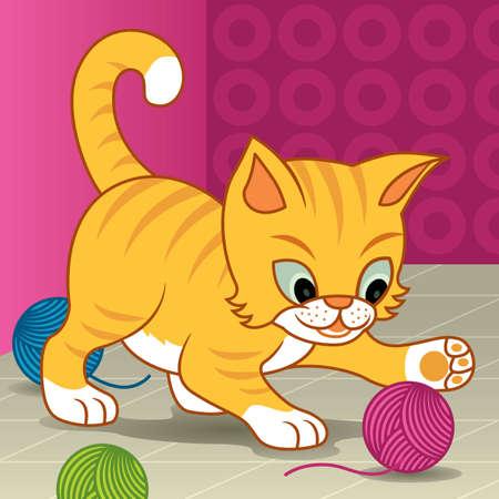 gomitoli di lana: Vettore di fumetto illustrazione di un piccolo gattino giocare con una palla di filati - altri animali nella mia galleria.  Vettoriali