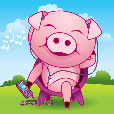 Music Pig Cartoon - More animals in my gallery. Vector