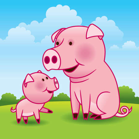 animal print: Mother Pig and Piglet - More animals in my gallery. Illustration