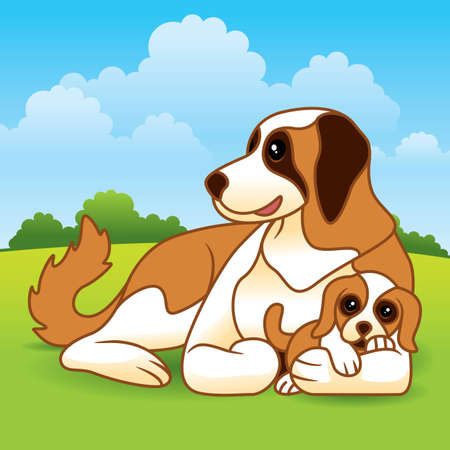 Cute vector cartoon of a mother dog with her puppy laying in the grass on a field. Stock Vector - 6796246