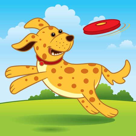 perro corriendo: Vector de dibujos animados de un perro emocionado que se ejecutan en el campo que intenta atrapar a un juguete.