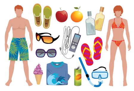sun lotion: Elementos vectoriales para iluminar su verano - ilustraciones de verano m�s en mi cartera.  Vectores