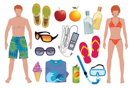 vector elements: Vector elements to light up your summer - More summer illustrations in my portfolio.