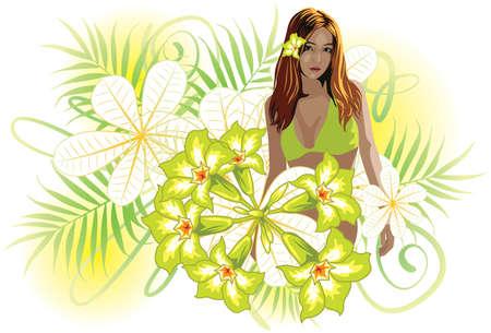 salud sexual: Ilustraci�n de una hermosa joven en bikini de vectores y rodeado de flores.