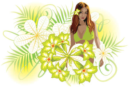 Vector illustration of a beautiful young girl in bikini and surrounded by flowers.