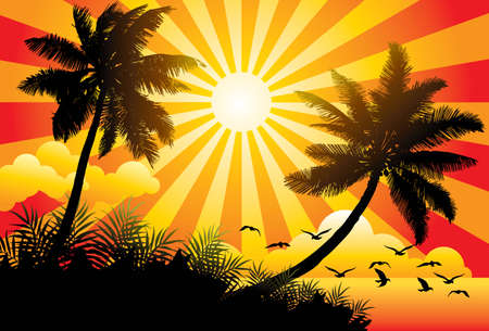 Paradise: Graphic vector illustration of a sunny beach with birds and palm trees - More summer illustrations in my portfolio. Illustration