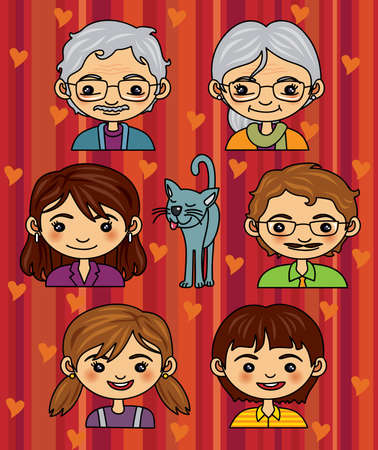 family history: Happy Family Portrait - More people illustrations in my portfolio.